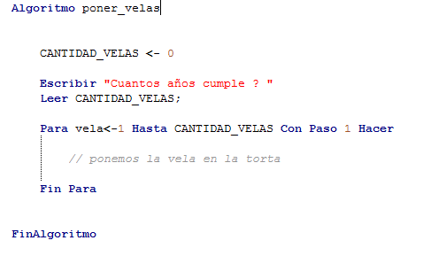algoritmo pseudo-codigo poner velas